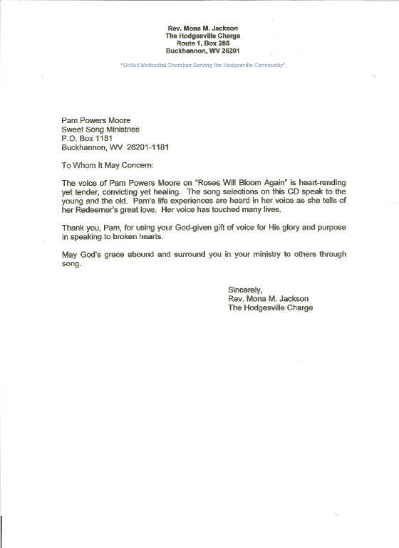 letter of recommendation from rev  mona jackson